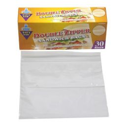 24 Units of 30 Piece Double Zipper Sandwich Bags - Food Storage Containers