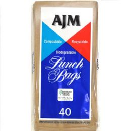30 Units of AJM Brown Paper Lunch Bags 40 Count - Lunch Bags & Accessories