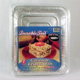 20 Units of Foil Casserole Lasagna Pan With Lid - Aluminum Pans