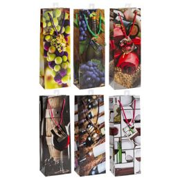 72 Units of Wine Gift Bag 6ast Prints Paper Modern Designs - Gift Bags