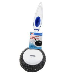 24 Units of Stainless Pan Cleaning Brush With Handle - Scouring Pads & Sponges