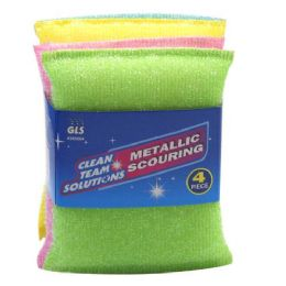 96 Units of 4 PIECE METALLIC SCOURING PADS - Scouring Pads & Sponges