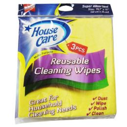 48 Units of 3 Piece Yellow Cleaning Wipes - Scouring Pads & Sponges