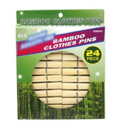 24 Units of Bamboo Clothespins 24 Count - Laundry  Supplies