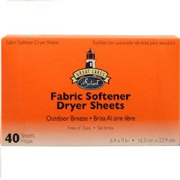 12 Units of Dryer Fabric Softer Sheets Outdoor Breeze 40 Count - Laundry Detergent