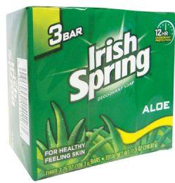 18 Units of IRISH SPRING BAR SOAP ALOE VERA 3 PACK 3.75OZ - Soap & Body Wash