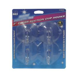 24 Units of 4 Piece Clear Suction Cup Hooks - Hooks