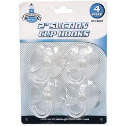12 Units of 4 PIECE 2 INCH SUCTION CUP HOOKS - Hooks