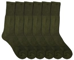 6 Units of Yacht & Smith Military Grade Wick Dry Crew Socks ,Heavy Duty Boot Sock, Army Green - Mens Crew Socks