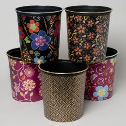 24 Units of Waste Basket 6 Asst Designs With Silver Or Gold Top Trim - Waste Basket