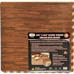 6 Units of 4 PIECE DARK WOOD GRAIN MAT - Home Accessories