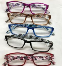 120 Units of Assorted Colors And Power Lens Plastic Reading Glasses Plaid Print Hinge Bulk Buy - Eye Wear Gear