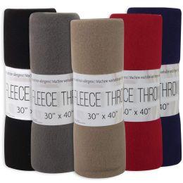 "24 Units of Fleece Blankets 30"" X 40"" - 5 Assorted Colors - Fleece & Sherpa Blankets"