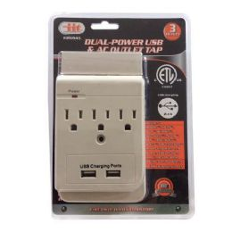 6 Units of 3 Outlet Dual Power USB And AC Outlet Tap - Electrical