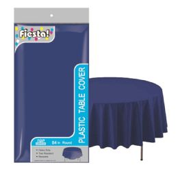48 Units of Round Heavy Duty Plastic Table Cover 84 Inch In Navy Blue - Table Cloth