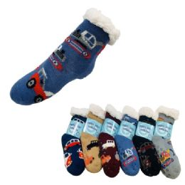 36 Units of Child's Plush-Lined Non Slip Sherpa Socks - Boys Crew Sock