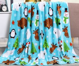 24 Units of Holiday Pals Printed Fleece Blankets Size 50 x 60 - Fleece & Sherpa Blankets