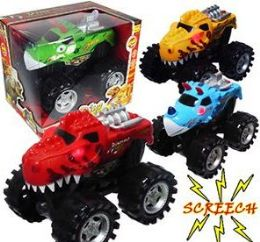 12 Units of Dino Monster Trucks With Lights And Sound - Cars, Planes, Trains & Bikes