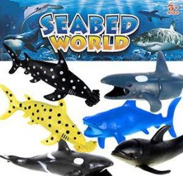 24 Units of 6 Piece Seabed World Vinyl Sharks And Whales Sets - Animals & Reptiles