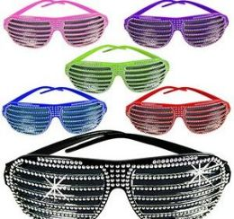 144 Units of Bling Shutter Shade Sunglasses - Novelty & Party Sunglasses