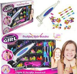 12 Units of 2 In 1 Glamor Girl Fashion Hair Bead Kits - Girls Toys