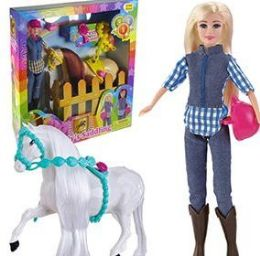 6 Units of 12 Piece Trendy's Saddling Horse and Doll Sets - Dolls