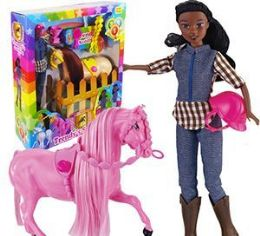6 Units of Ethnic 12 Piece Trendy's Saddling Horse And Doll Sets - Dolls