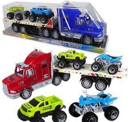 9 Units of 3 Piece Friction Powered Turbo Carrier Trucks - Cars, Planes, Trains & Bikes