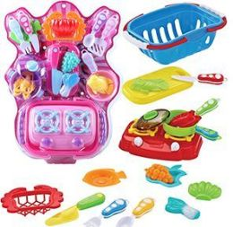 6 Units of 19 Piece Picnic Basket Mini Kitchen Sets - Toy Sets