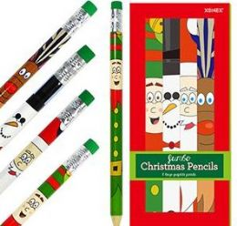 20 Units of 8 Pack Jumbo Christmas Pencils - Christmas Novelties