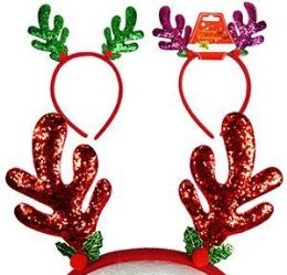96 Units of Glitter Reindeer Antler Headbands - Christmas Novelties