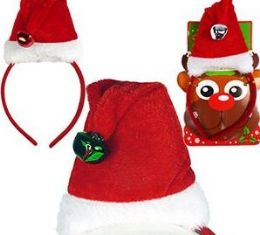 48 Units of Mini Santa Hat Headbands - Christmas Novelties