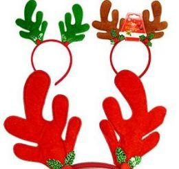 48 Units of Plush Reindeer Antler Headbands - Christmas Novelties