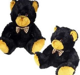 24 Units of 8 Inch Plush Sitting Black Bears With Bow Tie - Plush Toys