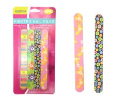 144 Units of 4 Piece Printed Nail Files - Manicure and Pedicure Items