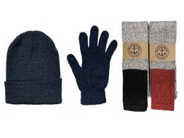 144 Units of Yacht & Smith Mens 3 Piece Winter Set , Thermal TUBE Socks Black Gloves And Beanie Hat - Winter Gear