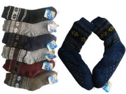 24 Units of Mens Knit Cabin Socks Warm Winter Socks - Mens Crew Socks