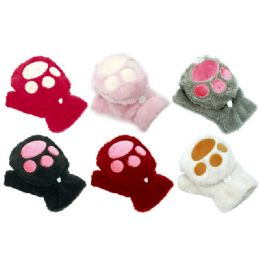 96 Units of Kids Cat Mittens - Winter Gloves