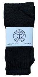240 Units of Yacht & Smith Kids Solid Tube Socks Size 6-8 Black Bulk Buy - Kids Socks for Homeless and Charity