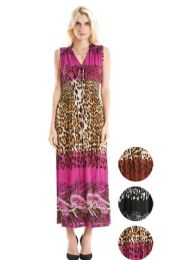 36 Units of Plus Size Maxi Dress Assorted Color Leopard Style - Womens Sundresses & Fashion