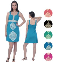 72 Units of Viscose Short Dress With Puff Prints - Womens Sundresses & Fashion
