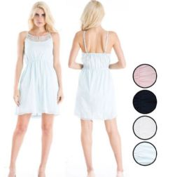 48 Units of Ladies Cotton Short Dress with Lace - Womens Sundresses & Fashion