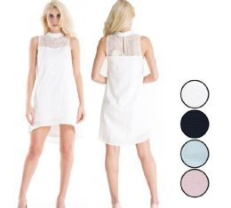48 Units of Ladies Cotton Short Dress with Lace and Lining - Womens Sundresses & Fashion