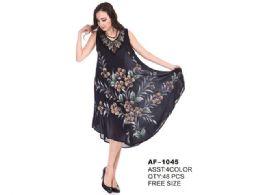 48 Units of Rayon Tie Dye Dress Brush Paint - Womens Sundresses & Fashion