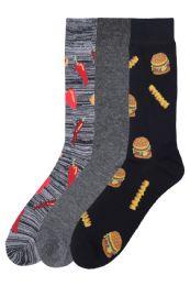 120 Units of Men's Printed Novelty Crew Socks Size 10-13 - Mens Crew Socks