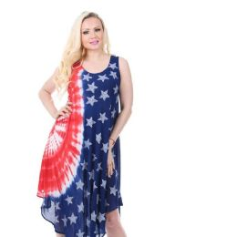 18 Units of Rayon Tie Dye Americana Pattern Dress - Womens Sundresses & Fashion