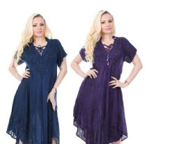 36 Units of Rayon Acid Wash with Collar Dress - Womens Sundresses & Fashion