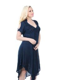 36 Units of Rayon Acid Wash Dress with Collar - Womens Sundresses & Fashion