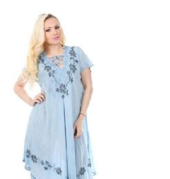 36 Units of Rayon Dress with Collar Enzyme Wash Denim - Womens Sundresses & Fashion