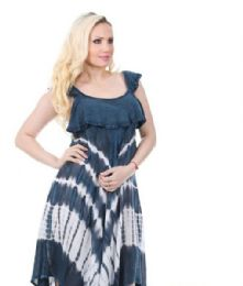 36 Units of Rayon Crepe Dress Acid Wash Ruffled Sleeve - Womens Sundresses & Fashion